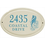 Sea Horse 3 Line Ceramic Address Plaque