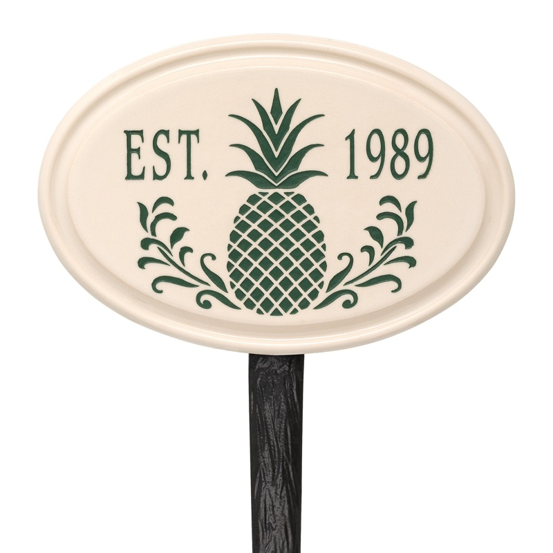 Pineapple Ceramic Established Date Lawn Plaque