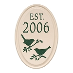 Ceramic Date Established Plaque Bird Wall