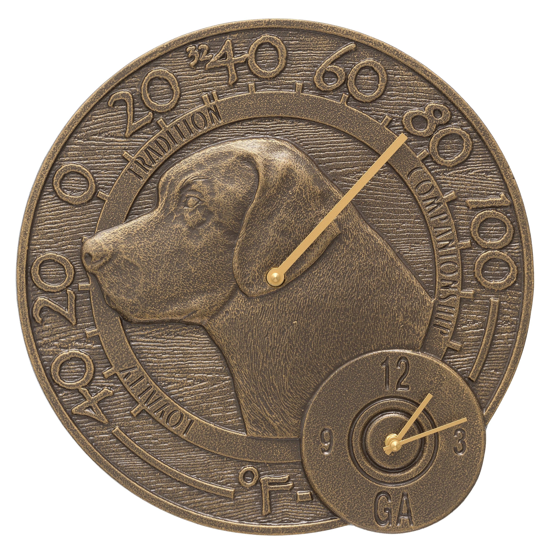 Labrador Indoor Outdoor Thermometer Wall Clock