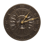 Sunface Indoor/Outdoor Wall Clock French Bronze
