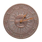 Sunface Indoor/Outdoor Wall Clock Copper Verdi