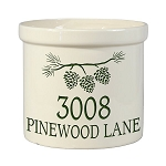 Stoneware Crock Pine Bough Address