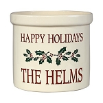 Stoneware Crock Happy Holidays Design