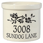 Stoneware Crock Dogwood Branch Address Design