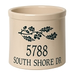 Stoneware Crock Oak Branch Address Design
