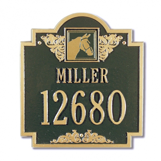 Horse Head Monogram Address Plaque 2 Line