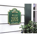 Golf Emblem Address Plaque Wall 2 Line