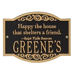Emerson Quote Family Name Plaque