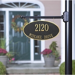 Two-Sided Hanging Oval Address Plaque 2 Line