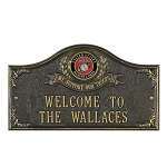 Military Service Wall Plaque 2 Line - We Support Our Troops
