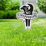 No Trespooping Pet Courtesy Lawn Plaque with Stake