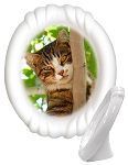 Porcelain Photo on a Stand, Oval, Ribbon Frame