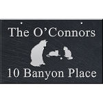 Cats Large Slate Address Plaque