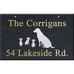 Hanging Slate Address Plaque 12 x 19, Dogs