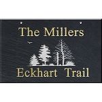 Slate Address Plaque 12 x 19, Trees