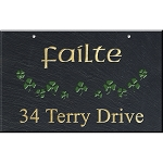 Hanging Slate Address Plaque 12 x 19, Shamrocks