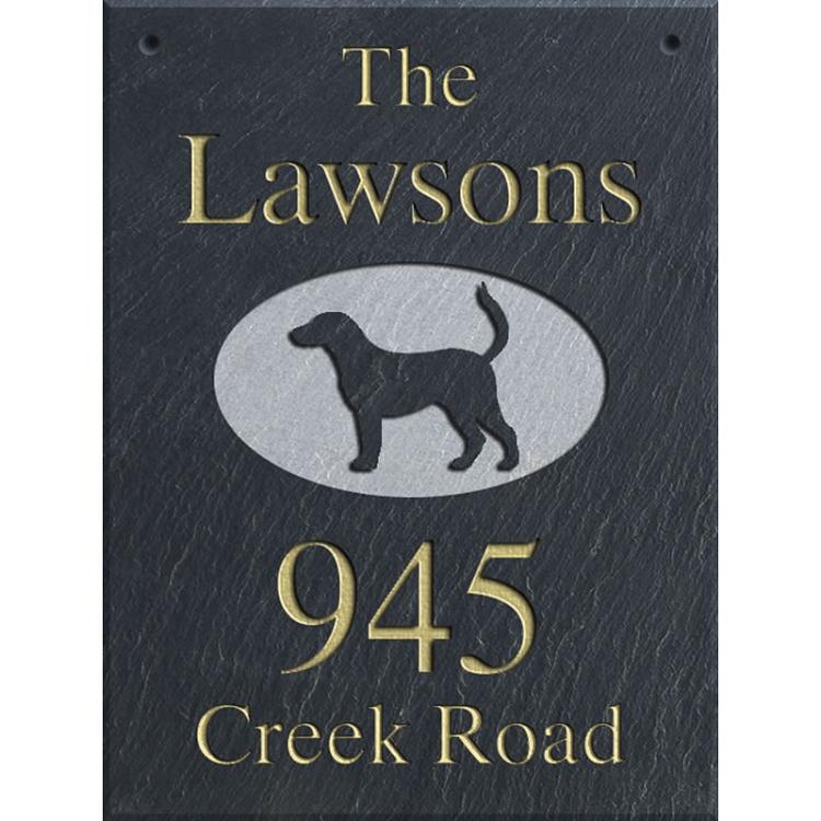 Hanging Slate Address Plaque 12 X 16 Labrador