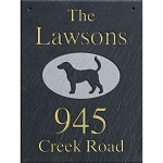Hanging Slate Address Plaque  12 x 16, Labrador
