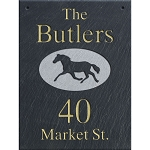 Hanging Slate Address Plaque  12 x 16, Horse