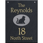 Hanging Slate Address Plaque  12 x 16, Sitting Cat