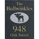 Slate Address Plaque  12 x 16 Wall, Moose