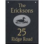 Hanging Slate Address Plaque  12 x 16, Duck Family