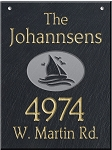 Hanging Slate Address Plaque  12 x 16, Sailboat