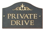 Private Drive Plaque Slate Curve Style