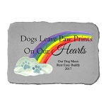 Dogs Leave Paw Prints Personalized Color Memorial Stone with Rainbow