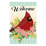 Spring Floral Cardinal Linen House Flag (28 in. x 44 in.)