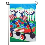 Stars and Stripes Wagon Burlap Garden Flag (12-1/2 in. x 18 in.)