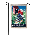 Patriotic Birdhouses Linen Garden Flag (12-1/2 in. x 18 in.)
