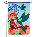 Hummingbird Meadow Linen Garden Flag (12-1/2 in. x 18 in.)