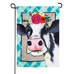 Floral Crowned Cow Linen Garden Flag (12-1/2 in. x 18 in.)