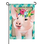Floral Crowned Pig Linen Garden Flag (12-1/2 in. x 18 in.)