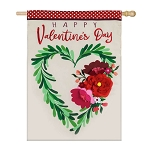 Valentine's Day Floral Heart Wreath House Flag (28 in. x 44 in.)