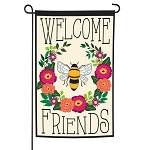 Bee Welcome Friends Applique Garden Flag (12 1/2 in. x 18 in)