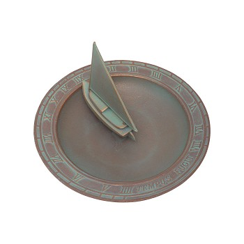 Sailboat Sundial Birdbath Copper Verdi