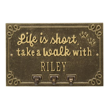 Life is Short Take a Walk Personalized Wall Sign with Leash Hooks AB