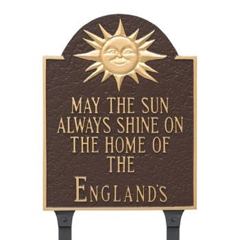 Home Of (Family Name) Plaque Sunshine Lawn