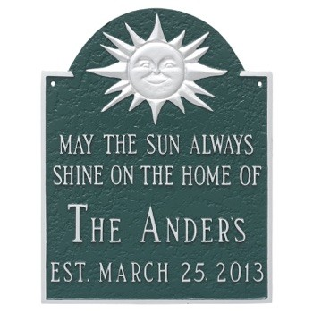 Home Established Plaque with Sun Theme Wall