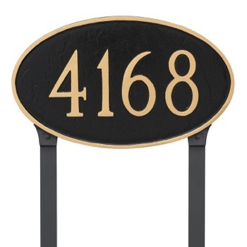 Oval Address Plaque Large Lawn