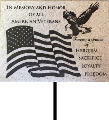 Stone Look Military Memorial Plaque Lawn & Wall