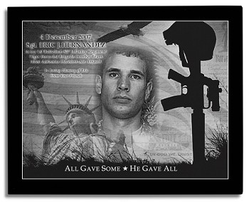 Military Memorial Etched in Marble with Frame 10.5 x 13