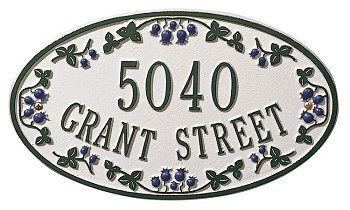 Catalina Blueberry Oval Address Plaque