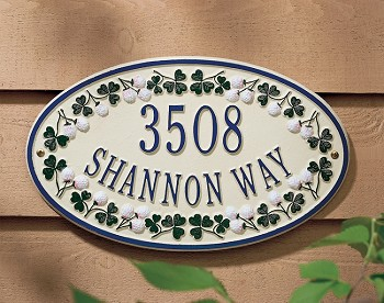 Catalina Clover Oval Address Plaque