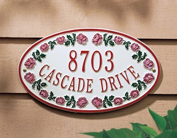 Catalina Rose Oval Address Plaque