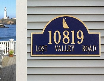Sailboat Arch Address Plaque Estate Wall 2 Line