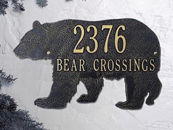 Bear Silhouette Address Plaque Wall